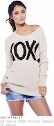 Michelle Keegan's AX Paris Beige Stone & Black XOXO Print Slouchy Oversized . sw