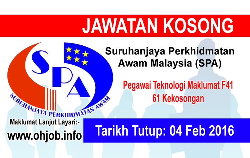 Jawatan Kerja Kosong Suruhanjaya Perkhidmatan Awam Malaysia (SPA) logo www.ohjob.info februari 2016