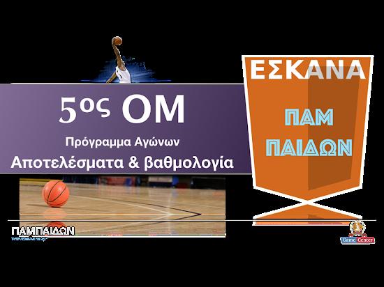 ΠΑΜΠΑΙΔΩΝ 5ος ΟΜ ✵ Το πρόγραμμα αγώνων
