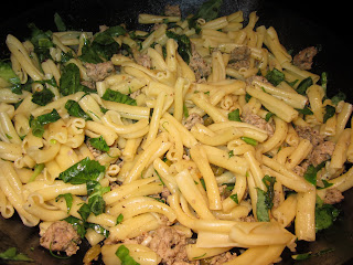 Pasta with Sage Sausage Pea Shoots & Capers