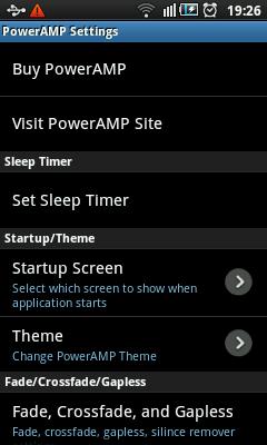 Android Music Player - PowerAMP Settings