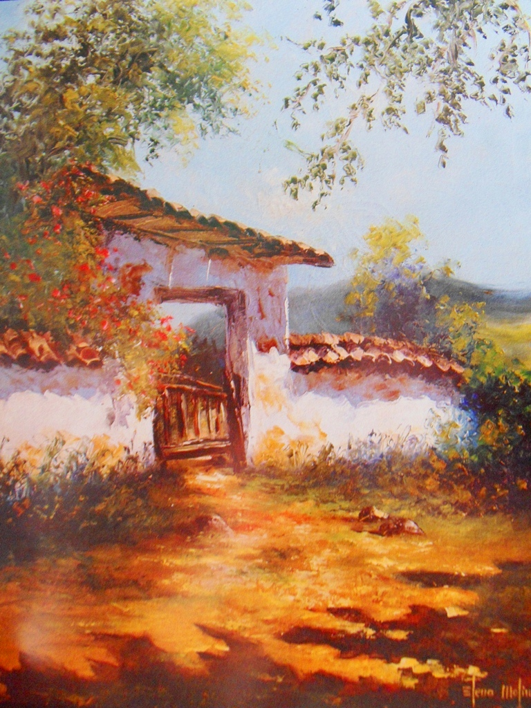 Im genes arte pinturas paisajes de campo al leo - Paisajes de casas ...