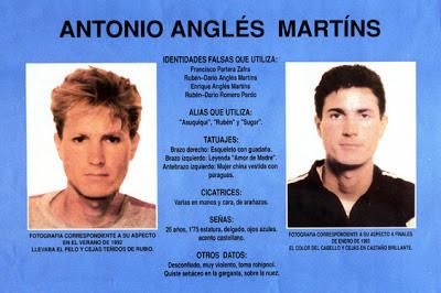 Ficha policial del desaparecido Antonio Anglés, principal sospechoso del crimen de Alcácer.