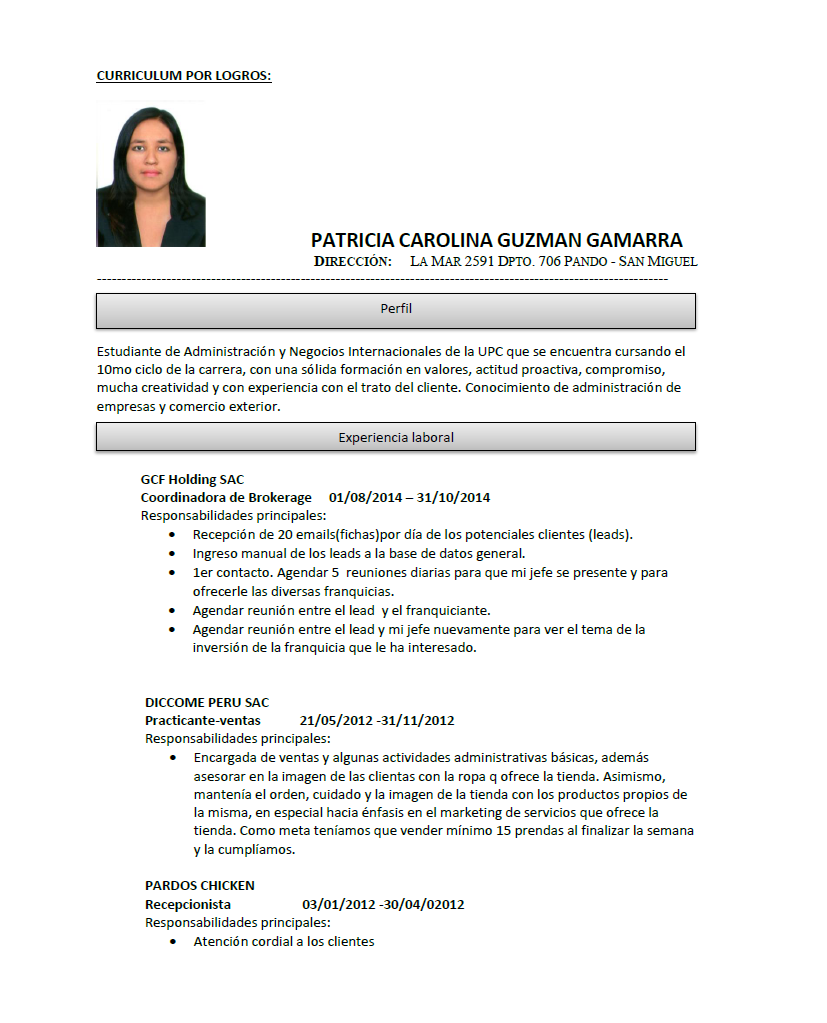 Patricia Guzmán: CURRICULUM VITAE FUNCIONAL Y CURRICULUM POR LOGROS