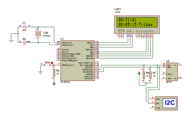 Interfacing Ds1307 To Pic Microcontroller With C Code And Circuit