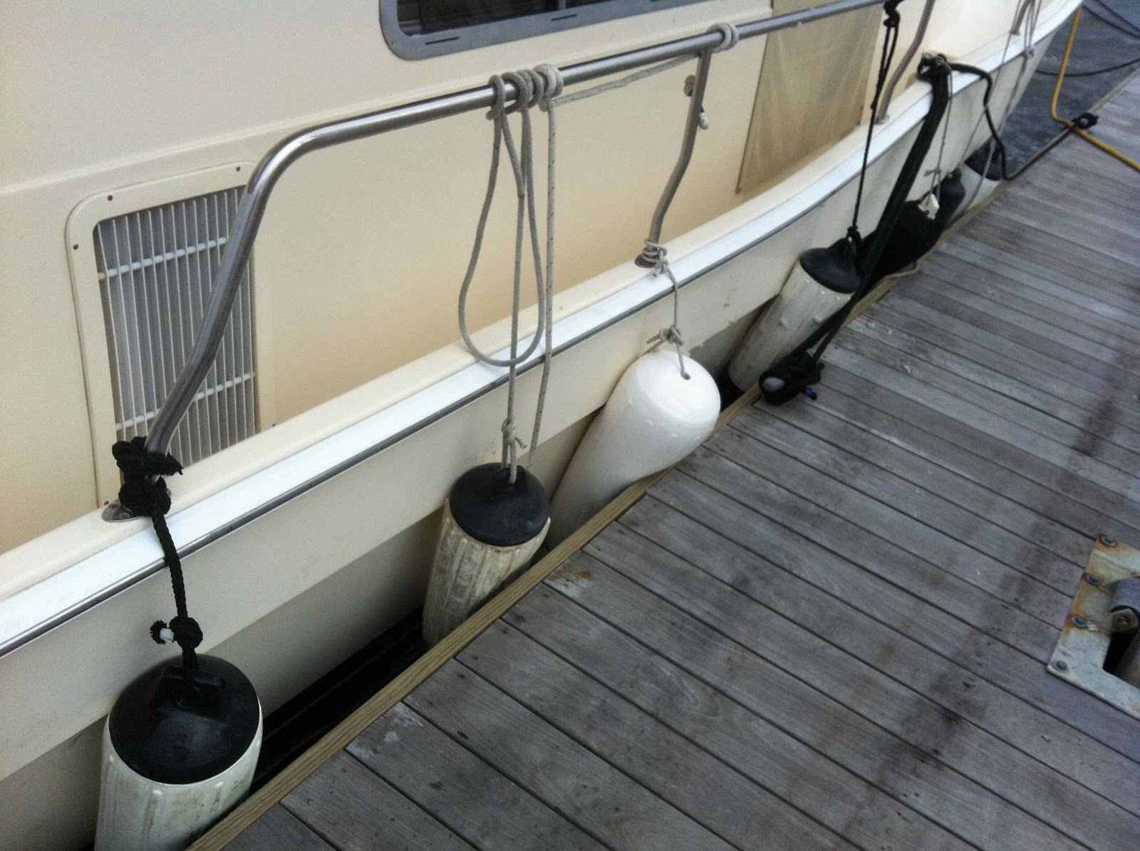 Large Boat Fenders : Always o clock on the great loop to charleston