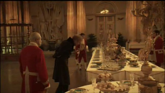Russian Ark 2002 film Alexander Sokurov Maquis de Custine porcelain plate party table scene