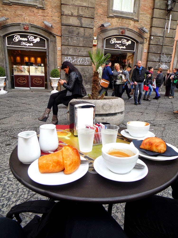 Photo of espresso, a sfogliatella, and a rum baba, at the Gran Caffe Neapolis in Naples - photo by Andie Gilmour