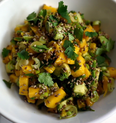 Mango and avocado salad with toasted sesame seeds