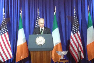 Vice President Joe Biden speaking on Thursday at  Irish American Hall of Fame event