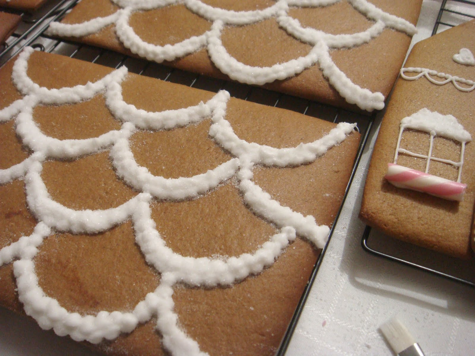 Gingerbread Cake On Square White Cake Stand