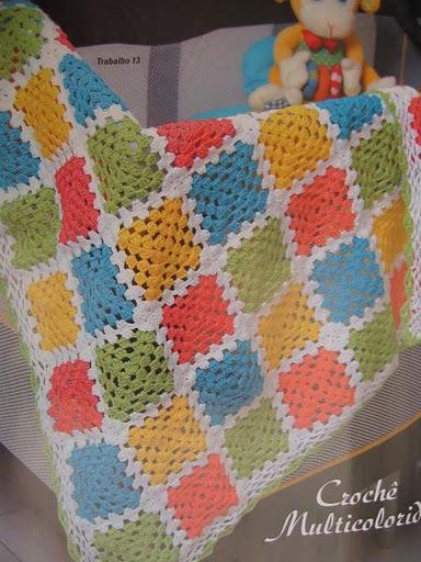Roseenxovais mantas de bebe em trico e croche - Mantas a crochet ...