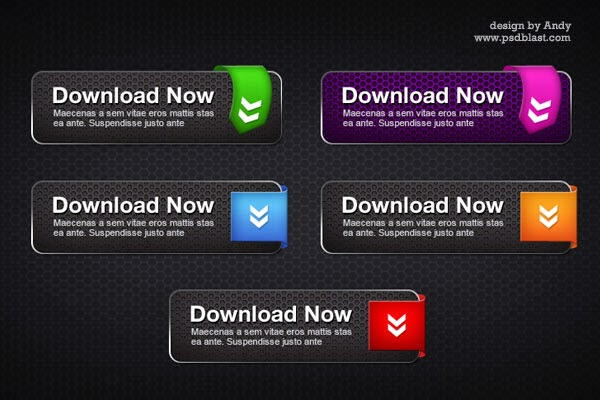 Spider Man Style Cool Download Button PSD