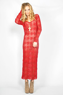 Vintage 1980's red long cotton crochet maxi dress with long sleeves.