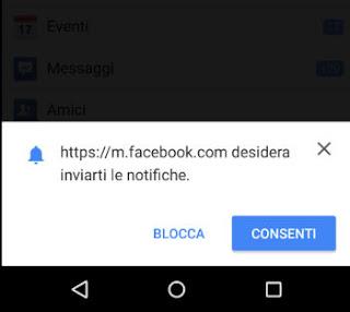 notifiche da sito facebook su android