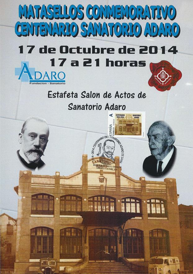 Cartel del matasellos del Centenario del Sanatorio Adaro