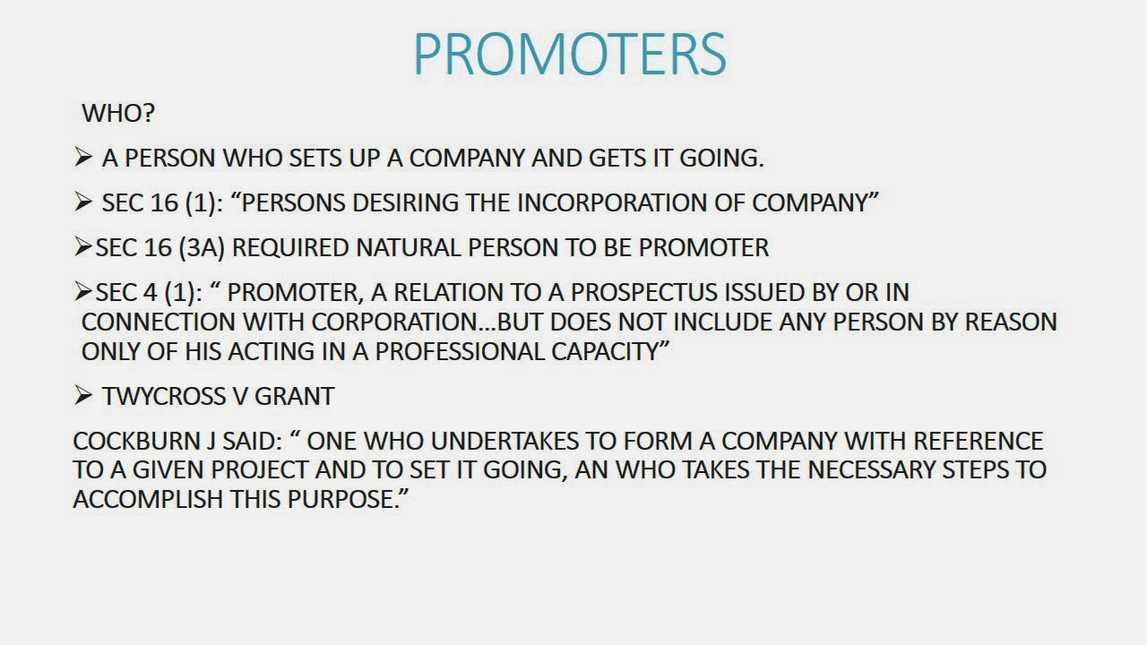 liabilities of the promoters for pre incorporation contract Chapter 3 promoters and pre-incorporation contracts chapter contents 31 promoters 32 promoters' duties 33 remedies for breach of promoters' duties.