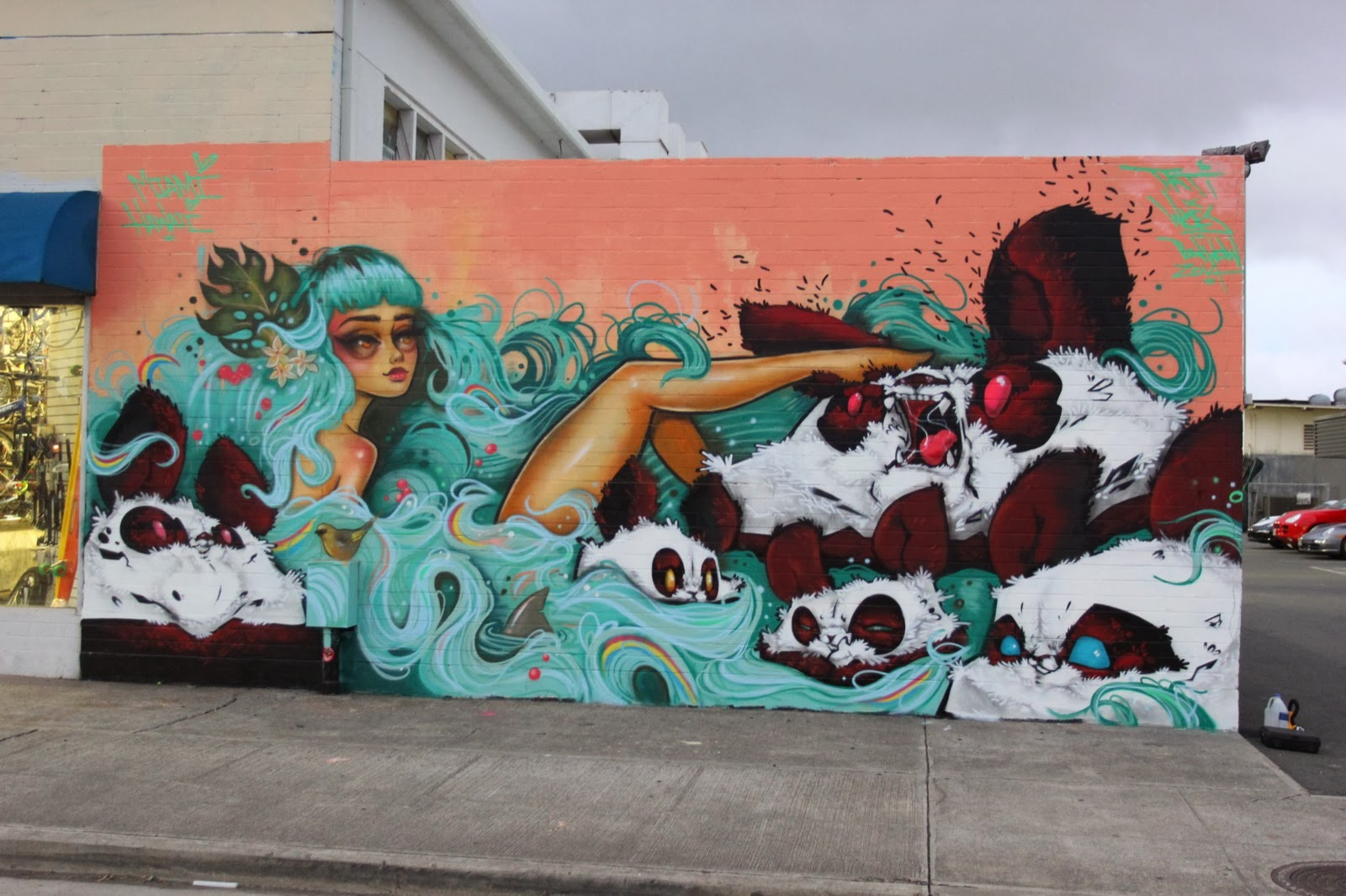 Miami-based Tatiana Suarez was also in Hawaii for POW! WOW! 2014 where she worked with the local legend Angry Woebots on this sweet new piece. 1