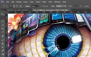 Como fazer Fotoshop: Olho criado com elementos de celulares