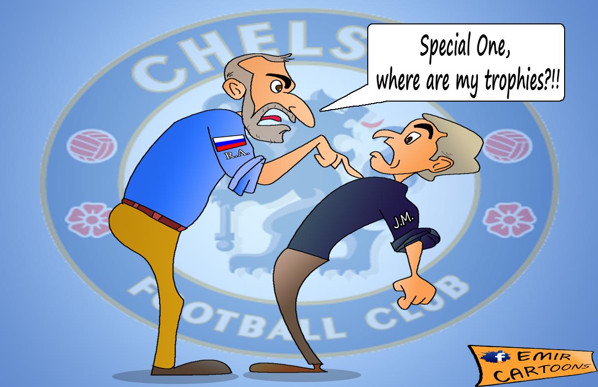 Jose Mourinha,specijalni,Roman Abramovic,Roman Abramovic  Jose Mourinho,emir balkan, cartoons,emir cartoons,omar momani,fudbal,karikature,karikatura dana,