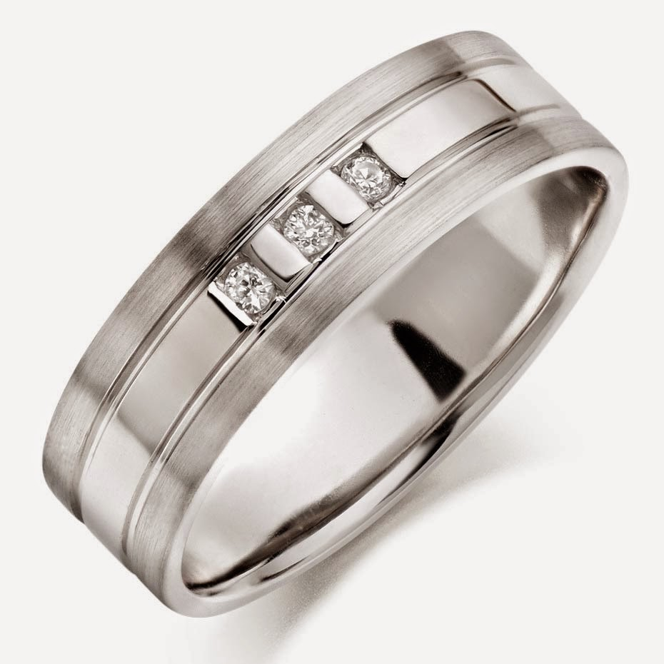 Tungsten Mens White Wedding Rings 3 Diamond Model pictures hd