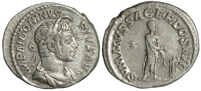 Silver denarius of Elagabalus. SVMMVS SACERDOS AVG. 221 CE. 17x19mm, 3.2g. RCV (2002) —; RIC IV 147; BMCRE —.