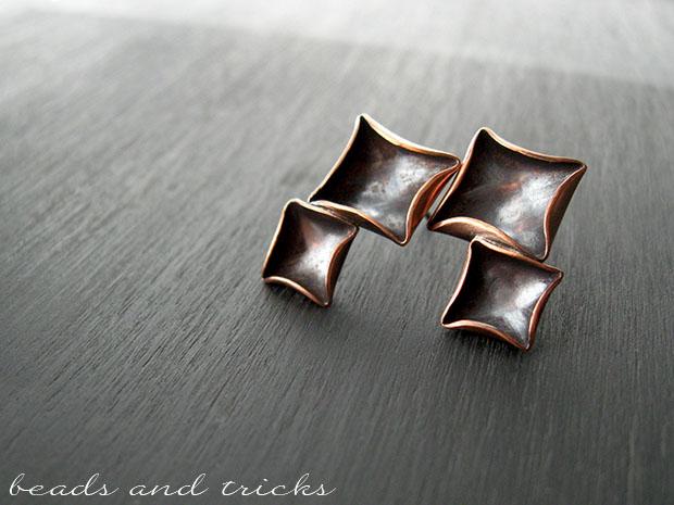Orecchini fatti a mano in rame e argento