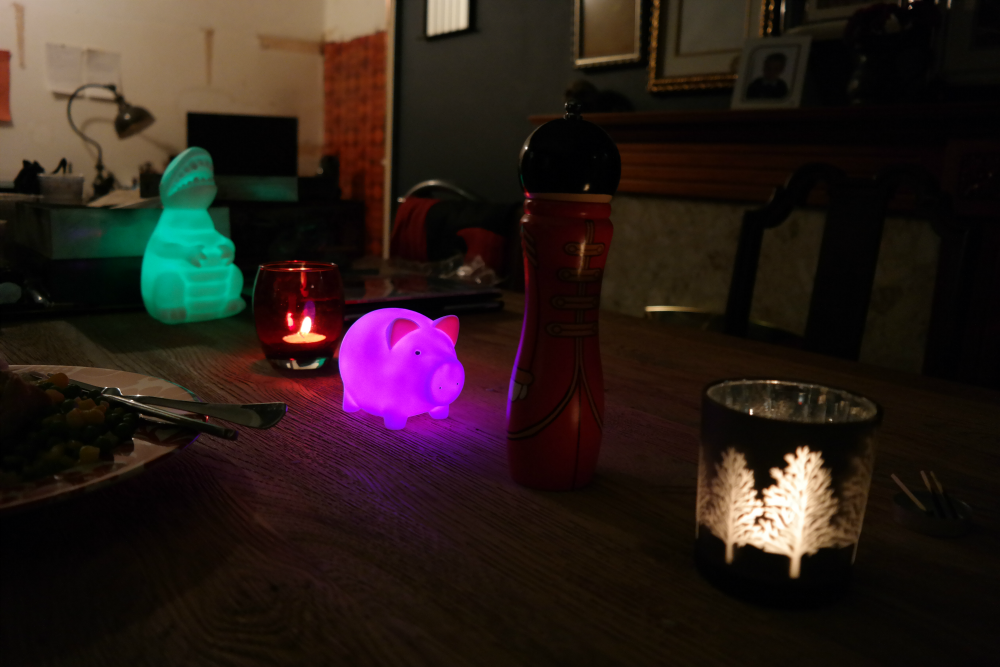 Glowing plastic animals lighting a dining room table