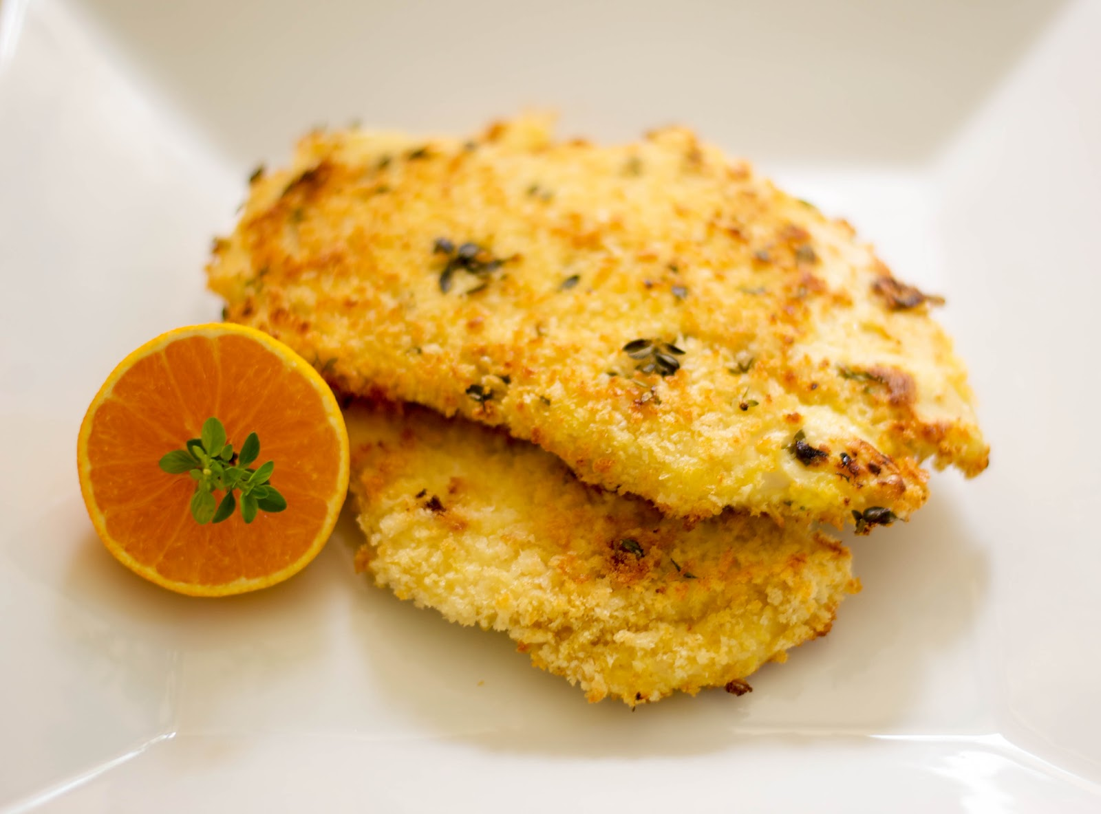 Clemen-Thyme Baked Chicken Cutlets - Carrie's Experimental Kitchen