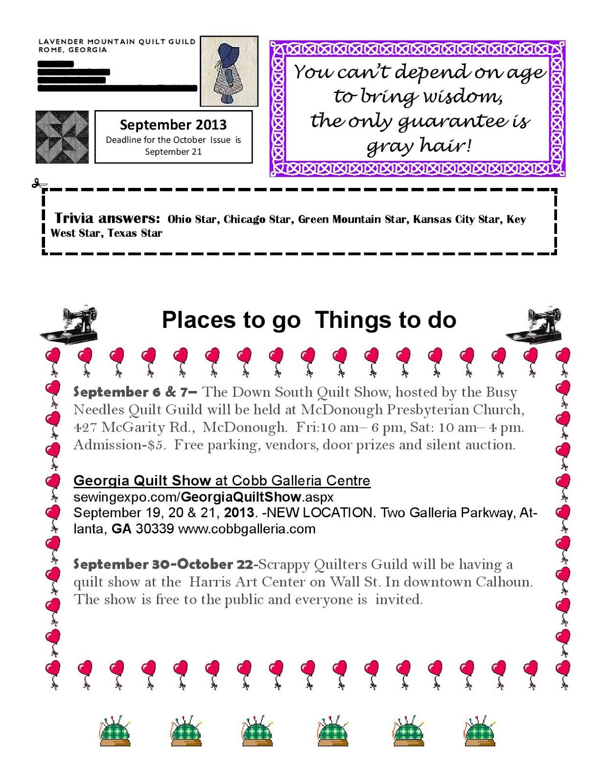 Quilt Guild Newsletter Ideas : Lavender Mountain Quilt Guild