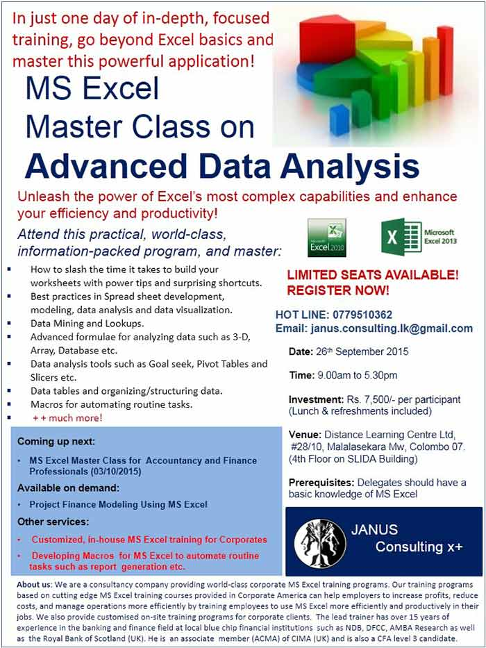 MS Excel Master Class on Advanced Data Analysis