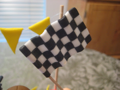 Motocross Dirt Bike Racing Cake - Close-Up of Checkered Flag