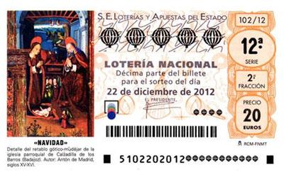 décimo de lotería de Navidad 2012
