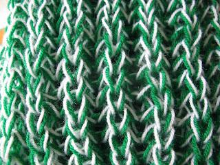 boina y bufanda a punto inglés detalle de punto inglés