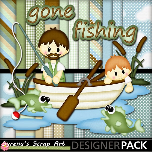 Gone Fishing Digital Scrapbook Kit