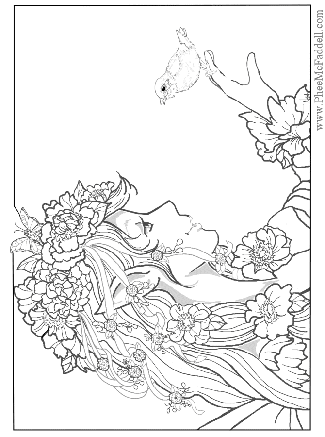 Coloring Pages Adult Gothic Fairy
