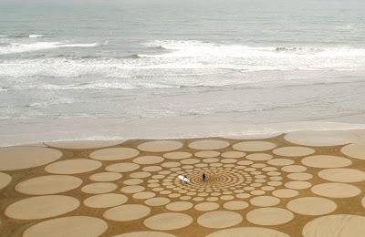 He industrial plant alongside natural materials to utilization massive scale drawings fine art inwards sand BeachesinBali; Beach Art past times Jim Denevan
