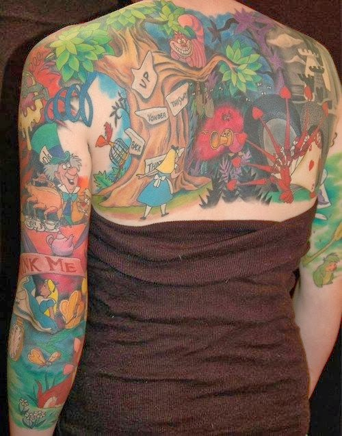 Alice in Wonderland Back and Sleeves Tattoo