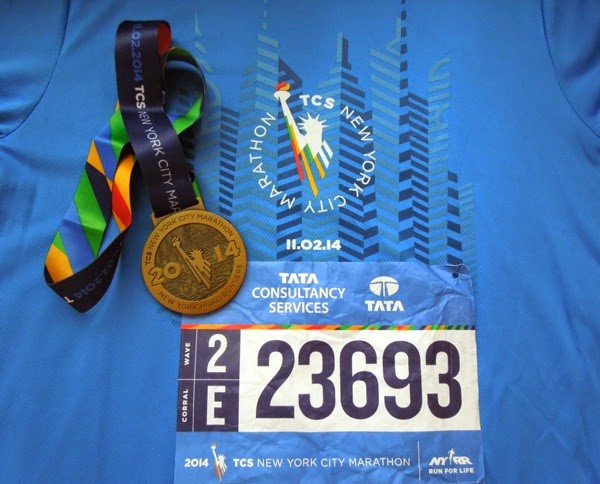 Official 2014 New York Marathon medal shirt