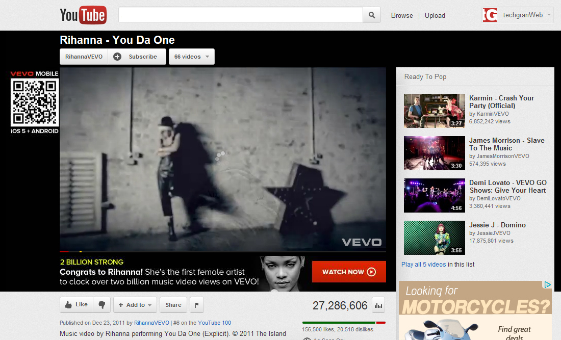 Rihanna Surpasses 2 billion Music Video views on VEVO