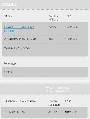 Information for 'Collide' from 'ASCAP' website