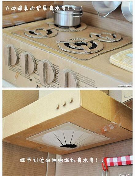 El mundo del reciclaje recicla cart n y haz una cocina de for Cocina de carton