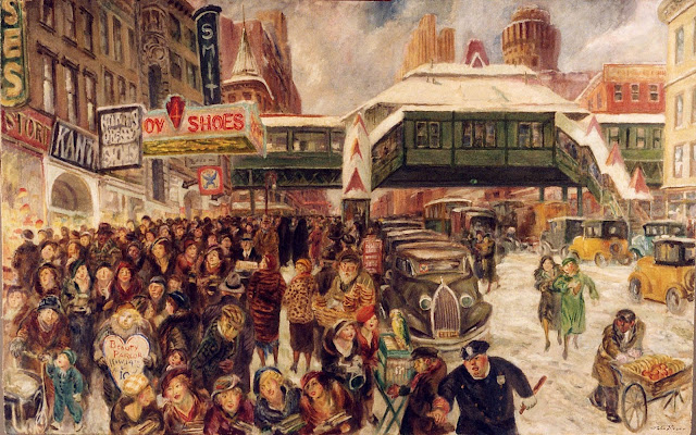 c1935 14th Street at 6th Avenue oil on wood