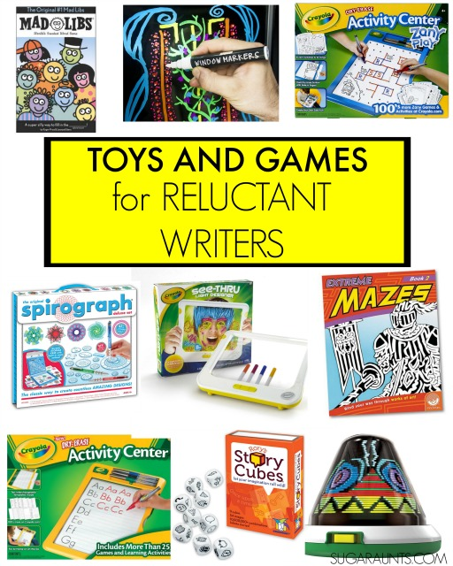 "Toys and game ideas for kids who are reluctant writers, and ""hate"" handwriting."