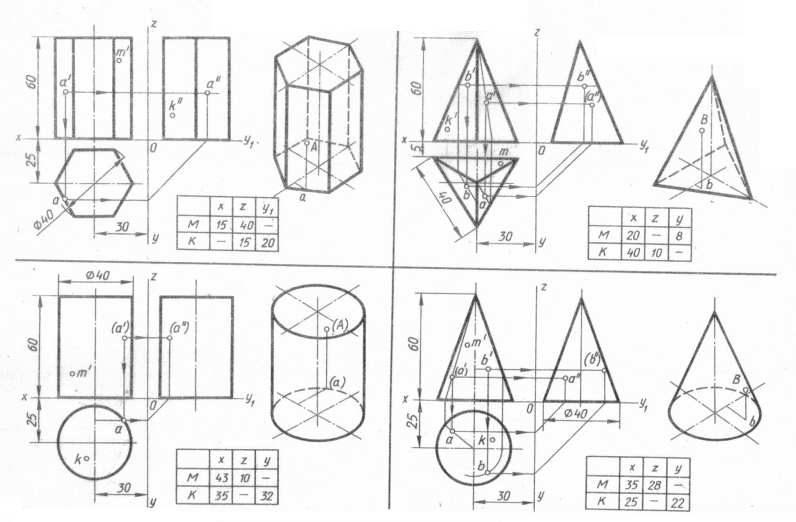 точками инженерная с геометрические графика проекции тела