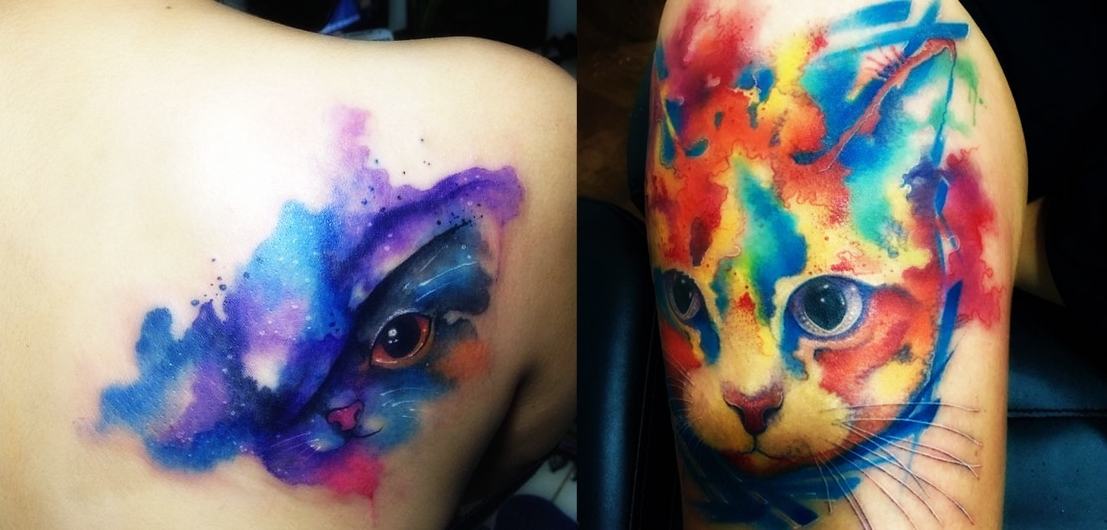 Beautiful watercolor cat tattoo everything about tattoos for Cool cat tattoo