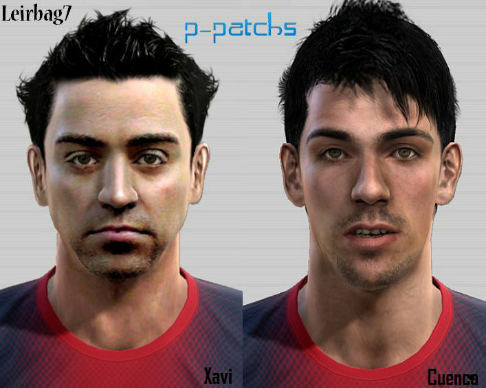 PES 2012 Xavi & Cuenca Faces by Leirbag7