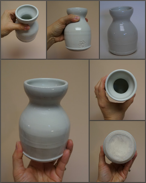 Wheel thrown ceramic sake container by Lily L.