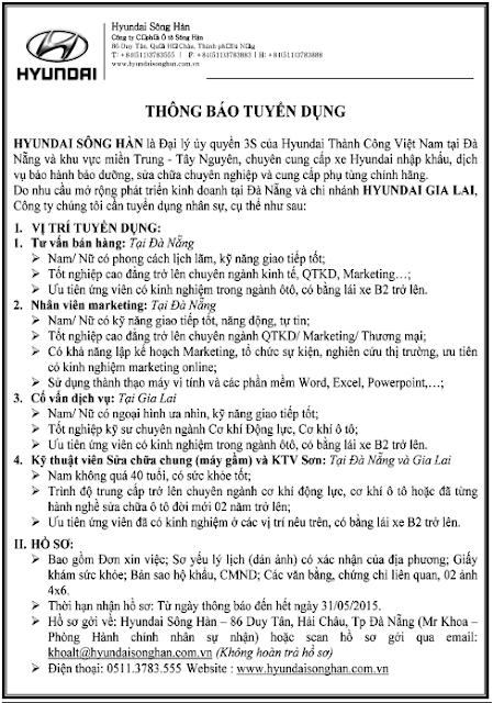 Hyundai Sông Hàn tuyển dụng nhân sự (31/05/2015)