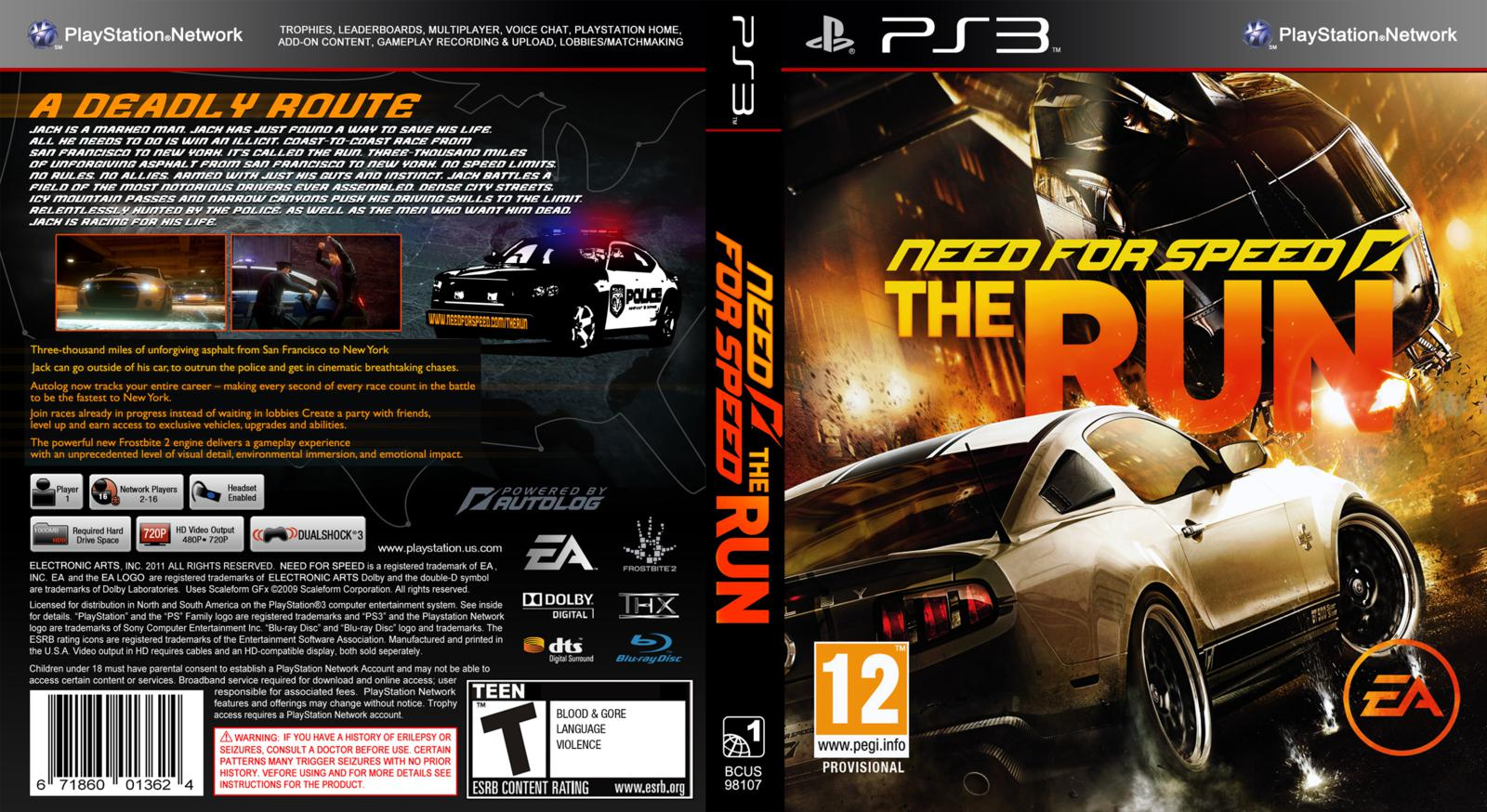 Capa Need For Speed The Run PS3 ~ Gamecover | Download de capas para